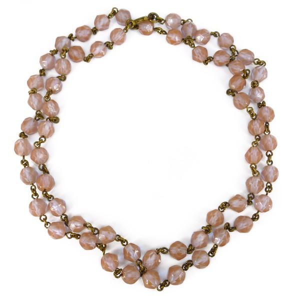 Antique Edwardian Czech Saphiret Glass Faceted Bead Necklace