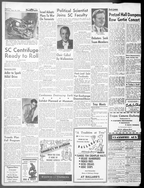 Daily Trojan, Vol. 40, No. 6, September 20, 1948