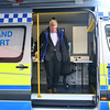 Gibraltar – 3rd December 2014 – Pictured Minister Linares stepping out of the new Command Support Unit. Gibraltar Government Minister Steven Linares today officially handed over to the Director of  the Emergency Contingency Plan unit, Leslie Edmonds the keys of the newly acquired inter-agency Command Support Unit vehicle at a the Royal Gibraltar Police Rosia Compound in Gibraltar. The vehicle, which will act as a key control centre in major incidents is the latest acquisitions as a new contingency emergency plan is introduced by the Government. The inter-agency vehicle, run primarily by the Royal Gibraltar Police, will see the mobile unit bringing ground command control between emergency services together. Fully equipped, with satellite links, thermal imaging cameras, control and radio facilities the vehicle is expected to act as the main mobile unit deployed to major incidents. The unveiling of the vehicle took place just hours before a planned live aircraft disaster exercise which will see the vehicle tested in real live conditions for the first time. The unit is among the key areas of assessment in the exercise. The Civil Aviation Authority will today be assessing the essential services response to a major aircraft disaster as part of the emergency assessments undertaken to licence the use of the airfield for commercial use.