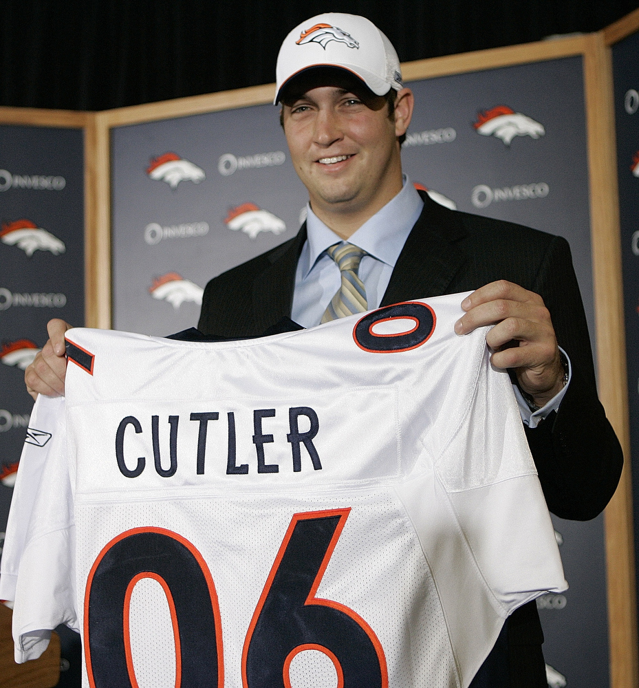 . Jay Cutler, Vanderbilt Selected 11th overall by the Broncos in 2006 Cutler�s career hasn�t lacked controversy � most notably, when he asked to be removed from a 2010 postseason game against the Packers � but the Bears quarterback has been effective. Since arriving in Chicago in 2009, Cutler is 34-22 with 82 touchdowns, 63 interceptions and 12,292 passing yards. GRADE: A-. The type of quarterback that immediately turns a team into a playoff contender. (AP Photo/Ed Andrieski)