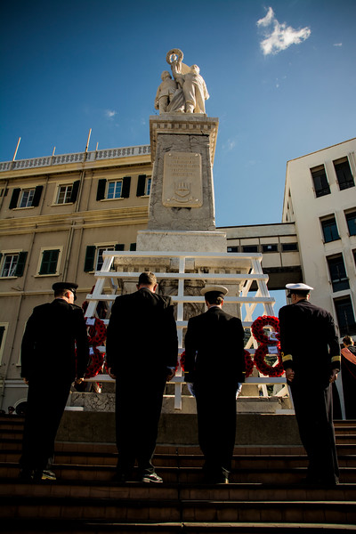 Gibraltar - 9th November 2014 - Civil and Military organisations present in Gibraltar commemorated Remembrance Sunday by the British War Memorial at Line Wall Road, Gibraltar today Sunday. The ceremony was headed by the Governor of Gibraltar and the Chief Minsiter, representing both the military and civilian organisations. The Royal Navy, British Army and Royal Air Force were represented at the parade.