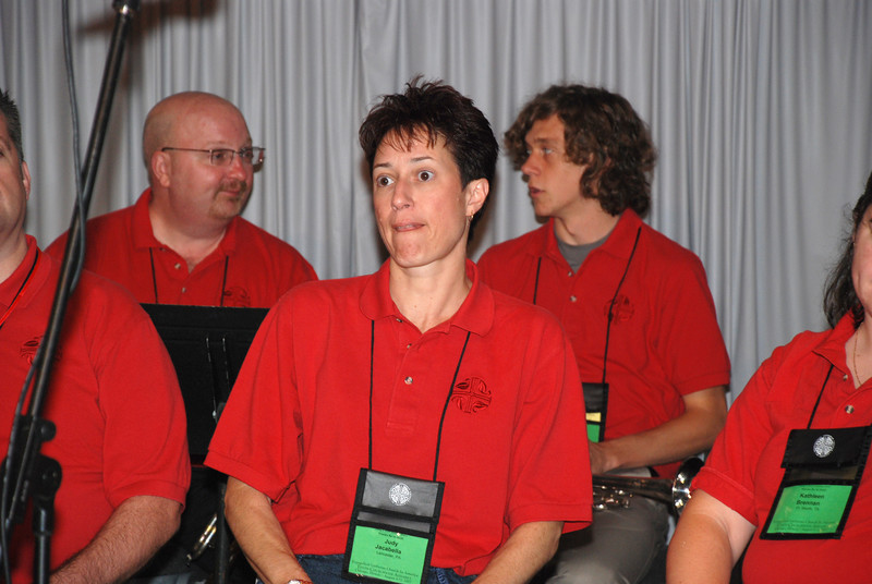 Judy Jacabella, Lancaster, Pa. member of the Assembly Musicians at Plenary 10 on Saturday on Navy Pier.