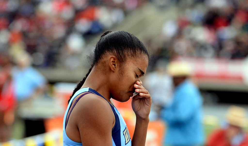 . Walnut\'s Kayla Richardson after the division 1 100 meter dash during the CIF Southern Section track and final Championships at Cerritos College in Norwalk, Calif., Saturday, May 24, 2014.   (Keith Birmingham/Pasadena Star-News)
