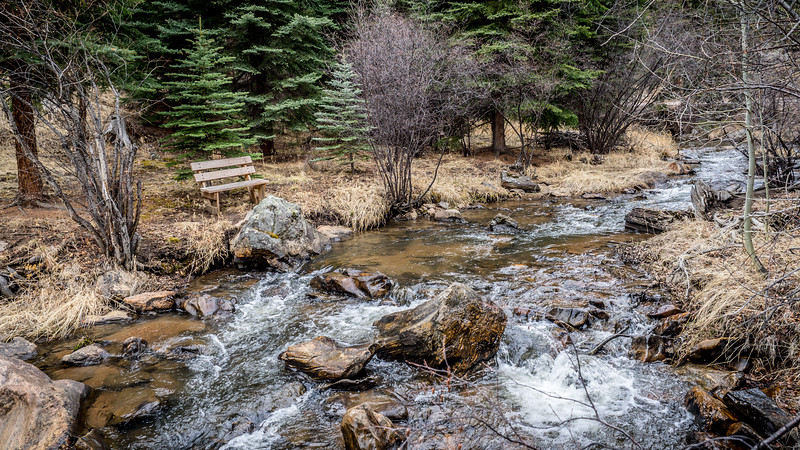 Peaceful bench on the stream