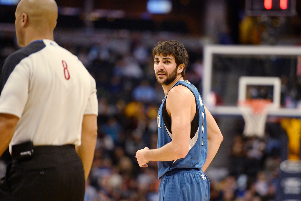 . Ricky Rubio (9) of the Minnesota Timberwolves reacts to a  possession call in favor of the Denver Nuggets during the first quarter at the Pepsi Center.   (Photo By AAron Ontiveroz/The Denver Post)