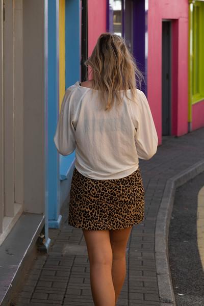 Blonde woman walking on the street, Kinsale, County Cork, Ireland