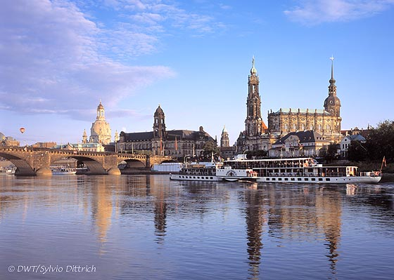 """Since the reconstruction of the Frauenkirche, at left, Dresden's skyline along river Elbe has been completely restored. It looks again like the famous Italian artist Canaletto painted it. He did that more times than his beloved Florence. Since those days the Saxon capital proudly wears the nickname Elbe Florence, and it can do so again. Photo Sylvio Dittrich.  <i>(Attention: this picture is not made by us and is not included in any feature price arrangement by us. This photo can be obtained in high resolution <a href=""""http://www.foto-dittrich-dresden.de""""><font color=""""#608bc1"""">at our collegue Sylvio Dittrich</font></a>).</i>"""