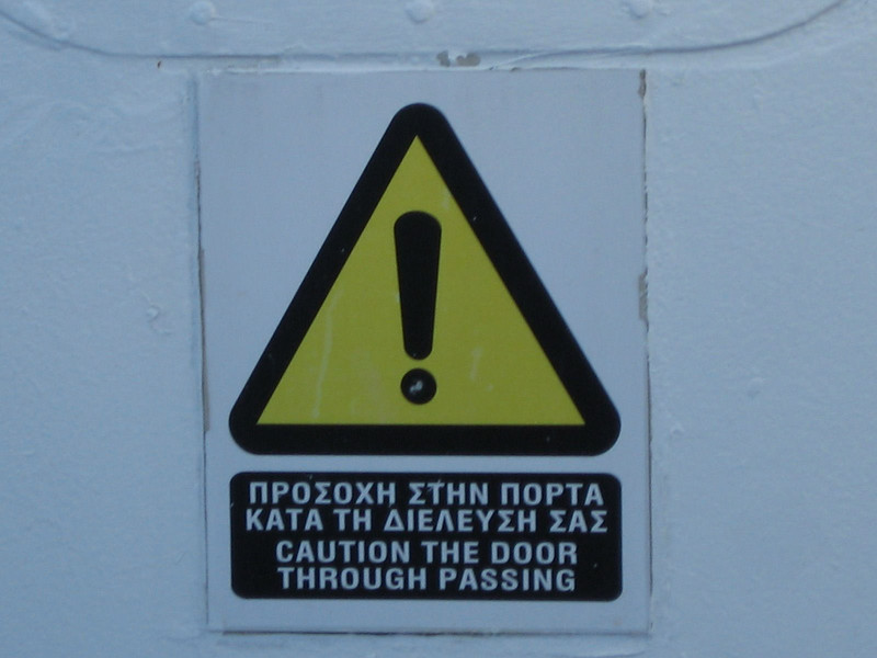 A funny sign on the ferry from Athens to Syros.