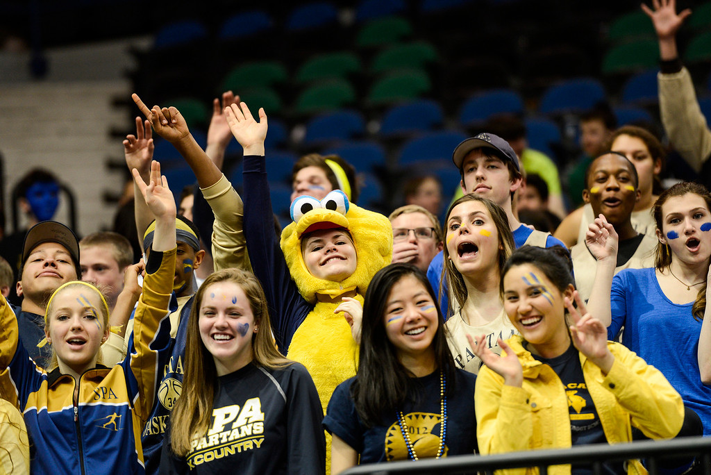 . St. Paul Academy fans cheer during the start of the second half. (Special to the Pioneer Press: Matt Mead)