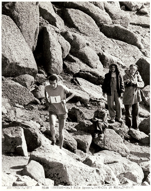 . Rick Trujillo 1977b-- Pikes Peak Marathon, on the Golden Stairs, 2h20m33s ascent, 3h46m21s finish_ 14Aug1977_1 Photo provided by Rick Trujillo