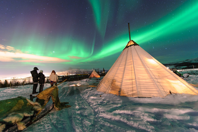 Traditional Sami reindeer-skin tents (lappish yurts) in Troms region of Norway