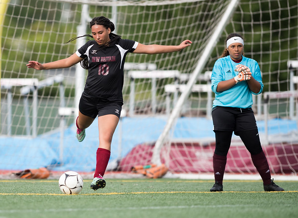 09/11/18 Wesley Bunnell | Staff New Britain girls soccer was defeated by Wethersfield 8-0 on Tuesday afternoon at Veterans Stadium. Analise Rodriguez (10) and goalkeeper Marilou Gonzalez.