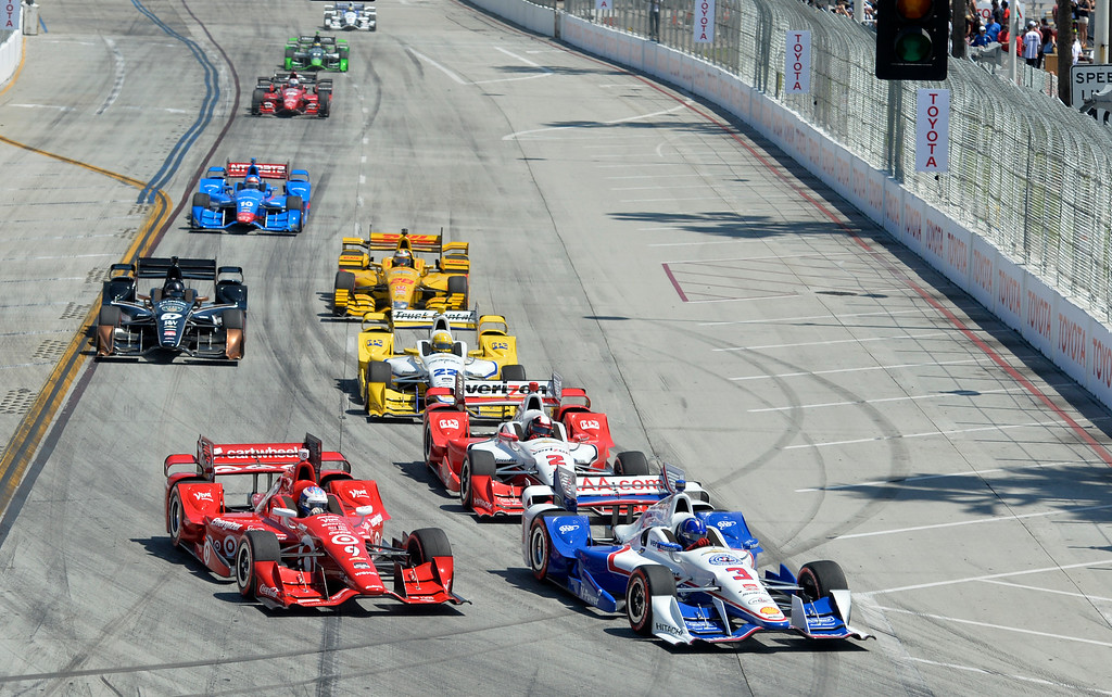 . Racers comes through turn one during the start of the race in the Toyota Grand Prix of Long Beach in Long Beach CA. Sunday April 19, 2015.  (Thomas R. Cordova-Daily Breeze/Press-Telegram)