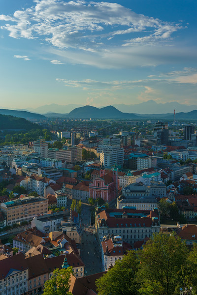 Stunning panoramic view from the Castle over Ljubljana beatified by the mesmerizing evening light.