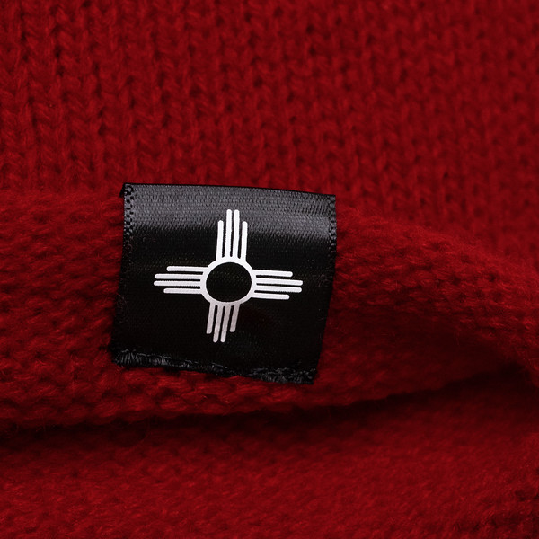 Outdoor Apparel - Organ Mountain Outfitters - Hat - Oversized Knit Beanie - Red Detail Zia Tag.jpg
