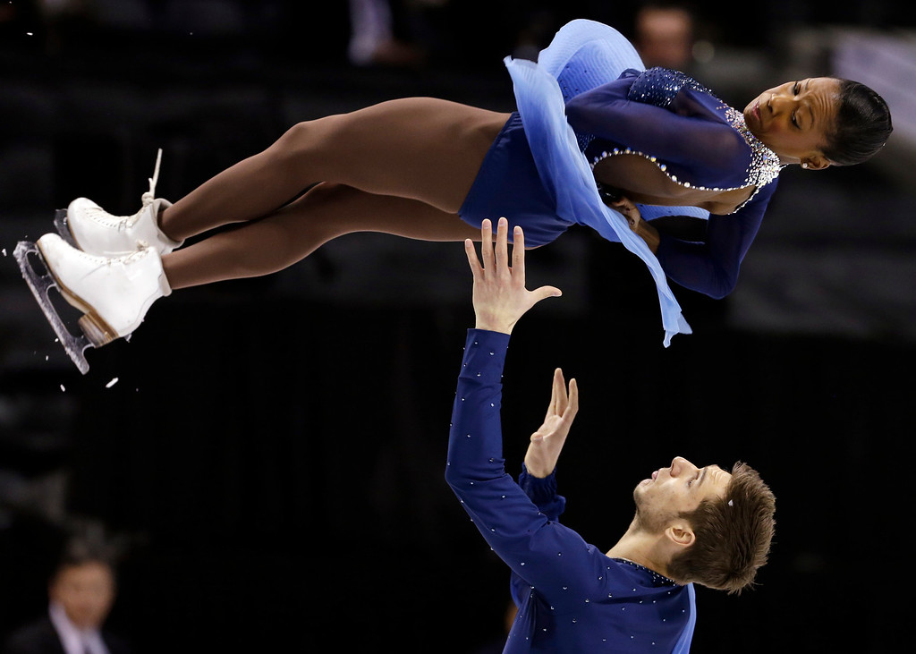 . Vanessa James and Morgan Cipres, of France,- perform during the pairs free program at the World Figure Skating Championships Friday, March 15, 2013, in London, Ontario. (AP Photo/Darron Cummings)