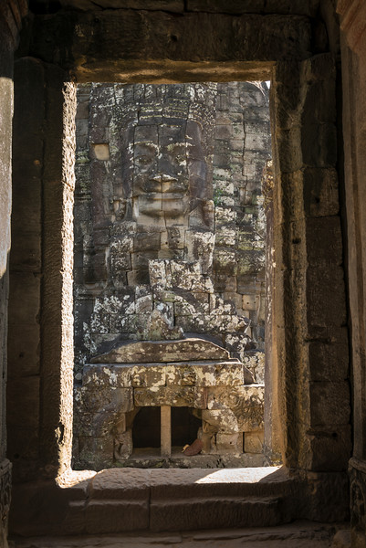 Statue carved at temple, Bayon Temple, Angkor Thom, Siem Reap, Cambodia