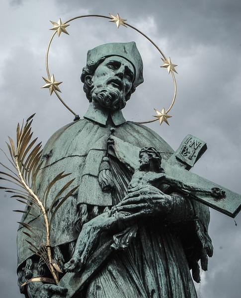 Prague: Charles Bridge,  bronze sculpture of St. John