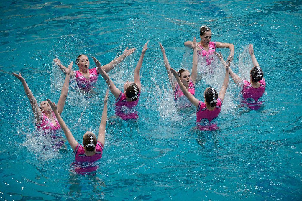 . THORNTON, CO. - MARCH 10: Sioux Falls Cygnets perform during the team free at The Rocky Mountain Synchronized Swimming North Zones Championships  March 10, 2013 at Veterans Memorial Aquatic Center. (Photo By John Leyba/The Denver Post)