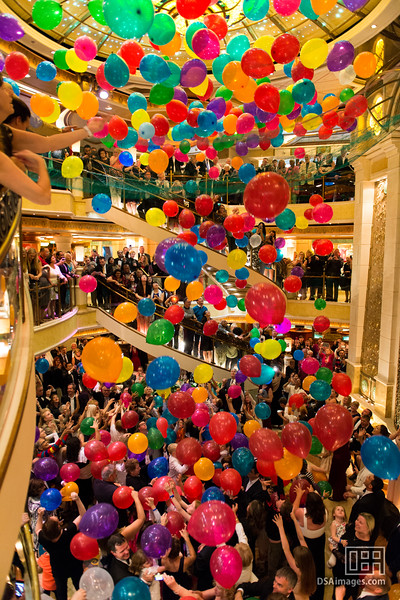 Giant cascading balloon drop