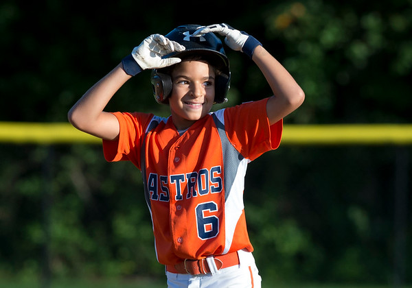 08/26/19 Wesley Bunnell | Staff The McCabe-Waters Astros defeated the Forrestville Dodgers 3-0 at Breen Field on Monday night in the city series to force a winner takes all on Wednesday. Mason Allen (6) after hitting a double.