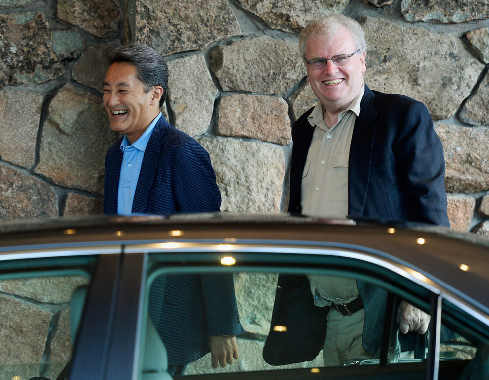 . Sir Howard Stringer, (R) who has served as Chairman of the Board, chairman, president and CEO of Sony Corporation, and Kazuo Hirai, President and CEO of Sony Corporation, arrives for the annual conference on July 9, 2013 in Sun Valley, Idaho. The resort will host corporate leaders for the 31th annual Allen & Co. media and technology conference where some of the wealthiest and most powerful executives in media, finance, politics and tech gather for a weeklong meetings which begins Tuesday. Past attendees included Warren Buffett, Bill Gates and Mark Zuckerberg.  (Photo by Kevork Djansezian/Getty Images)