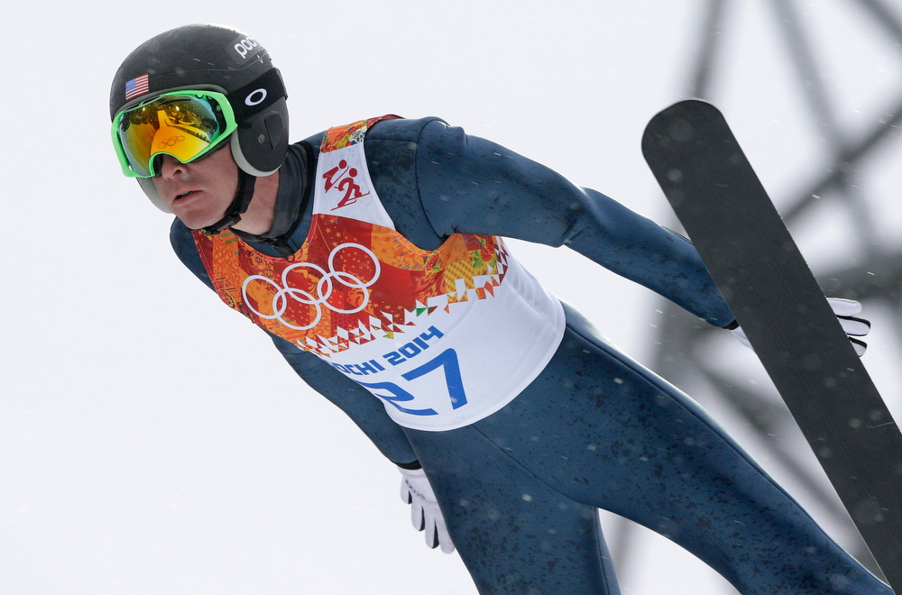 . United States\' Bill Demong makes his trial jump during the Nordic combined individual Gundersen large hill competition at the 2014 Winter Olympics, Tuesday, Feb. 18, 2014, in Krasnaya Polyana, Russia. (AP Photo/Matthias Schrader)