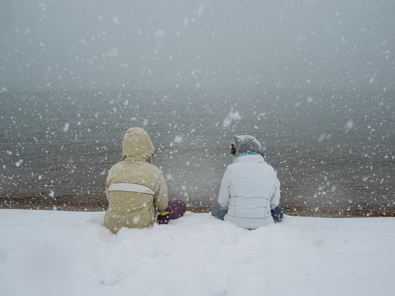 Snowball fight! Sasha and Emily at the lake