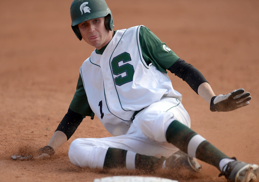 . South\'s Gunner Johnson (1) slides into third safely against Estancia in a first-round CIF SS Division IV baseball game Friday in Torrance. South won 7-2. 20130517 Photo by Steve McCrank / Staff Photographer