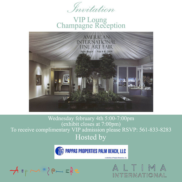 Artmosphere sponsers at The American International Fine Art Fair. furnishing and decor of the vip lounge area by Marcel maison and Julian Maison.