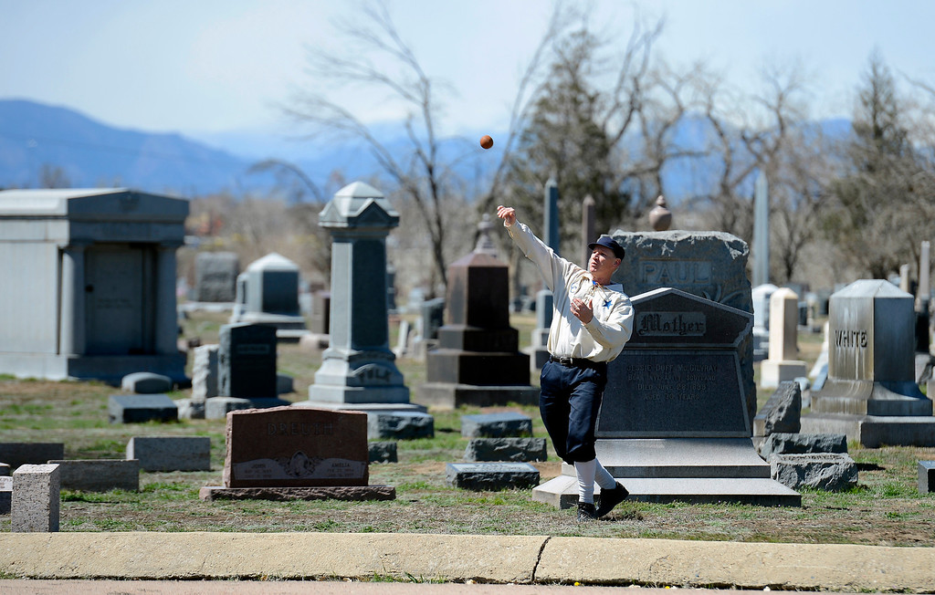 . DENVER, CO. - APRIL 14: Tim Heine of the Central City Stars throws in the ball after a hard hit to right field during their vintage game against the Denver Blue Stockings April 14, 2013 at  Riverside Cemetery in Denver. (Photo By John Leyba/The Denver Post)