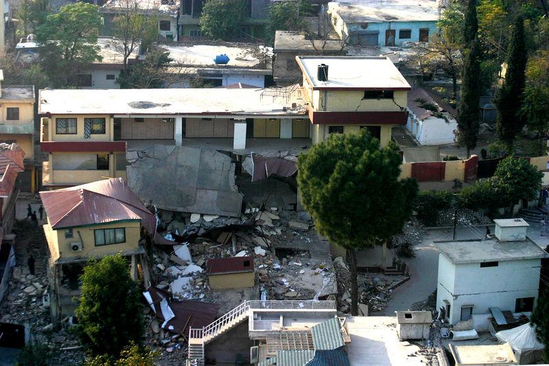 Ruins in Muzzafarabad from the air.