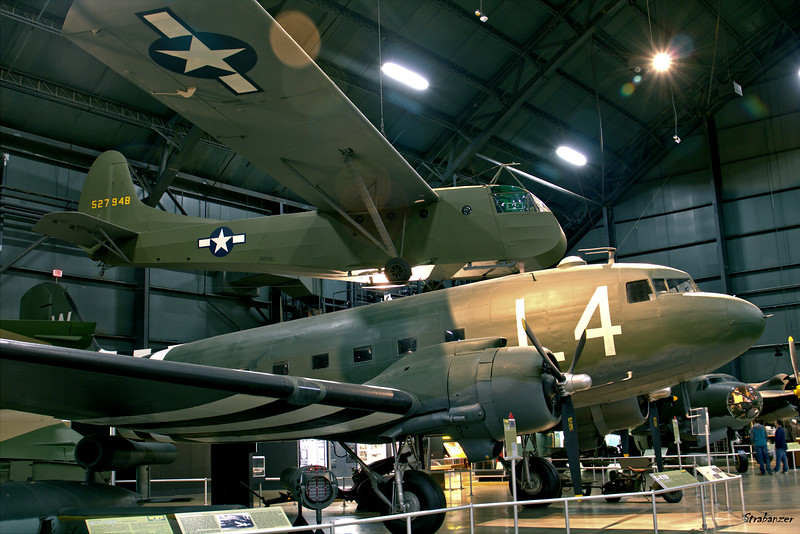 National Museum of the United States Air Force, Dayton, Ohio,   04/12/2019  Douglas C-47B-15-DK Skytrain, C/N: 26768  43-49507 Waco CG-4A-GN Hadrian 527948 built by the Gibson  Refrigerator Co. in Greenville, Mich.  This work is licensed under a Creative Commons Attribution- NonCommercial 4.0 International License.