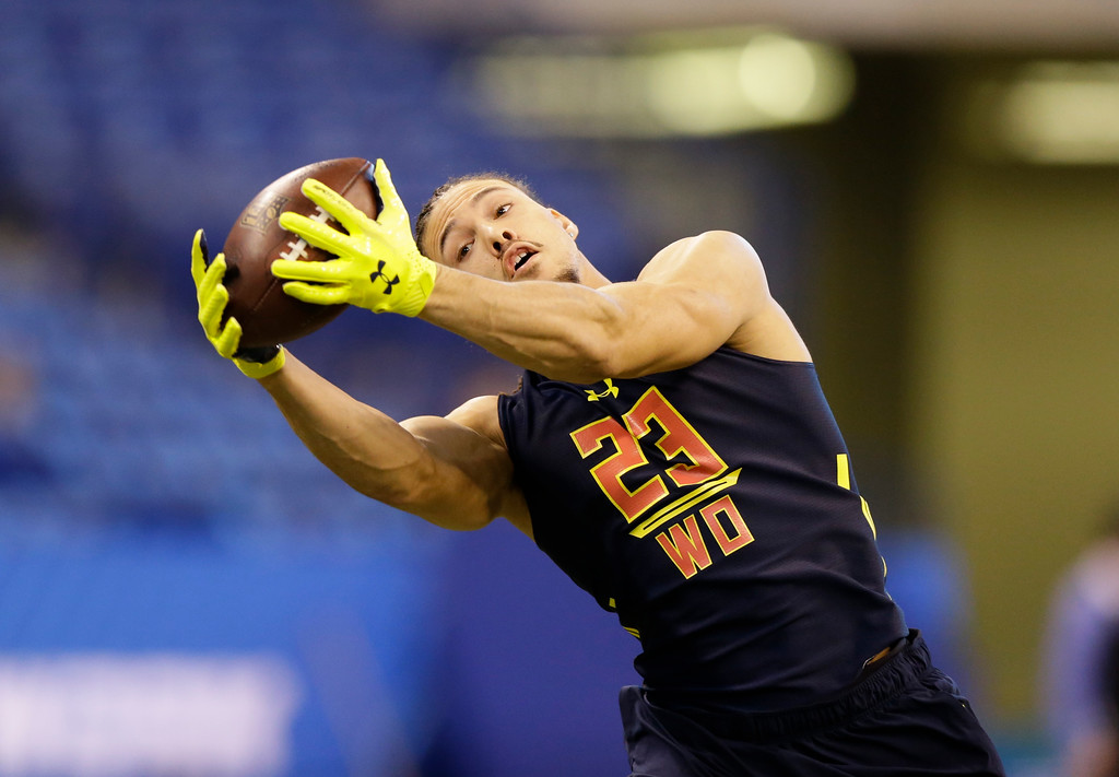 . Marian wide receiver Krishawn Hogan runs a drill at the NFL football scouting combine in Indianapolis, Saturday, March 4, 2017. (AP Photo/Michael Conroy)