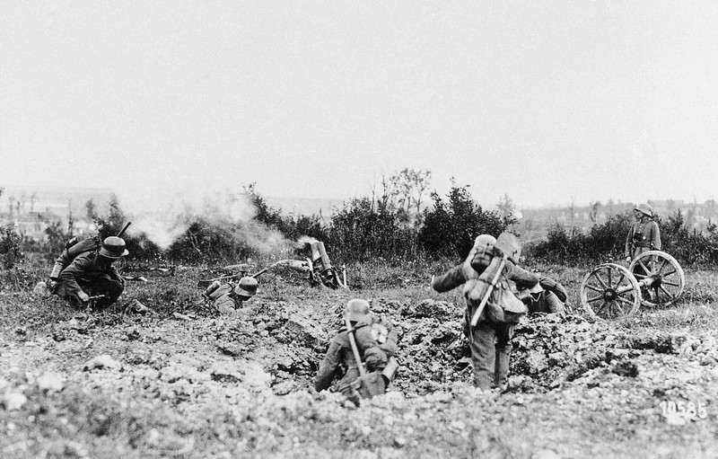 . German mine-throwing troops, at an attack at the Keil and Poehl mounts, Germany in an undated photo. (AP Photo)