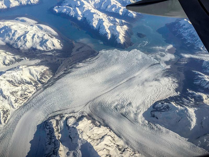 Hubbard Glacier merging with Valerie Glacier