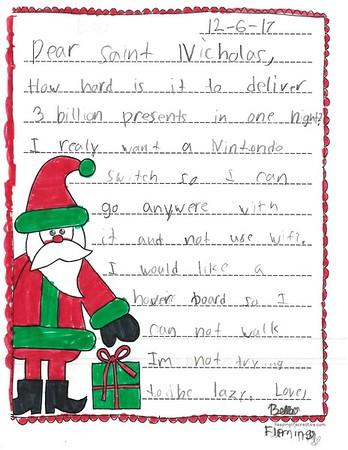 Letter to Santa, Mrs. Tolbert's second grade, 12/8/2017