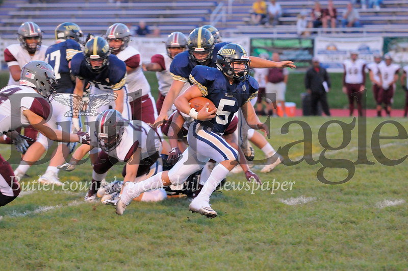 Knock #5 Matt Goodlin runs past Ambridge defensive line during a game at Knoch Stadium on Friday September 21, 2018. (Jason Swanson photo)
