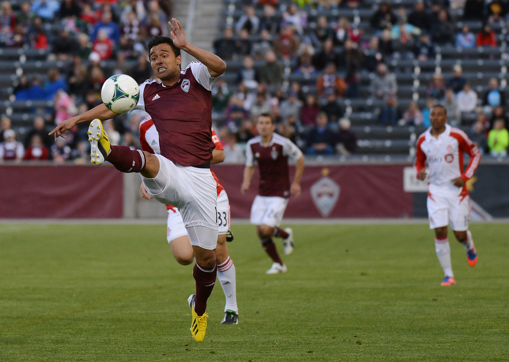 . COMMERCE CITY, CO. - MAY 04 : Kamani Hill #13 of Colorado Rapids controls the ball in the 1st half of the game against Toronto FC at Dick\'s Sporting Goods Park in Commerce City, Colorado. May 4, 2013. (Photo By Hyoung Chang/The Denver Post)