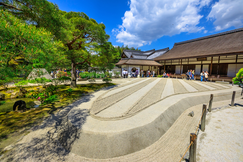 Zen garden in Ginkakuji Temple. Editorial credit: Benny Marty / Shutterstock.com
