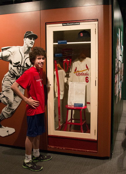 Noah with Stan Musial's locker -- A trip to the Baseball Hall of Fame, Cooperstown, NY, June 2014