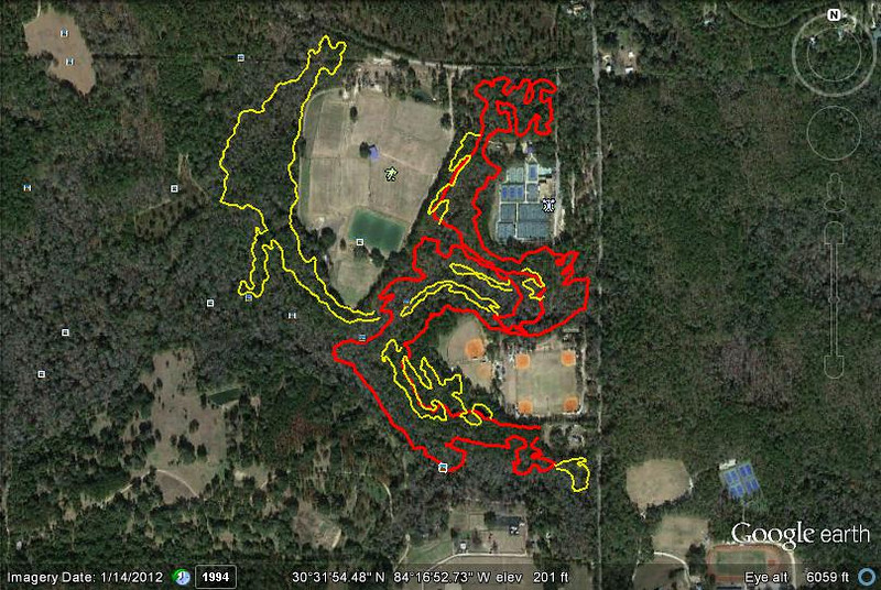 See also here for numbered version of this map. Red Bug Trail (red, from 14 Nov 2011) with yellow Jan 2013 GPS tracks of NTC 1-7, aka proposed New Trail Construction segments 1, 2, 3, 4, 5, 6, and 7. My early favorite, before any ground breaking has occurred: NTC-5. I do not have a clean measurement of the revised total distance. My guess? Closer to 6M than 5M, as little existing trail is marked to be abandoned. Distances depicted in the GPS links vary from a bit short to waaaay short of reality. Map created with Google Earth and GPSVisualizer.