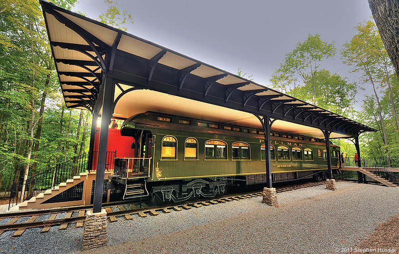 restored Pullman Palace sleeper car near Manchester, VT.