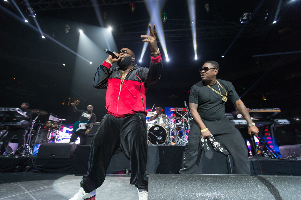 . Rick Ross (L) and Whole Slab perform on stage during Power 106\'s Cali Christmas at Honda Center on Saturday December 14, 2013 in Anaheim, CA. (Photo by Paul A. Hebert/Invision/AP)