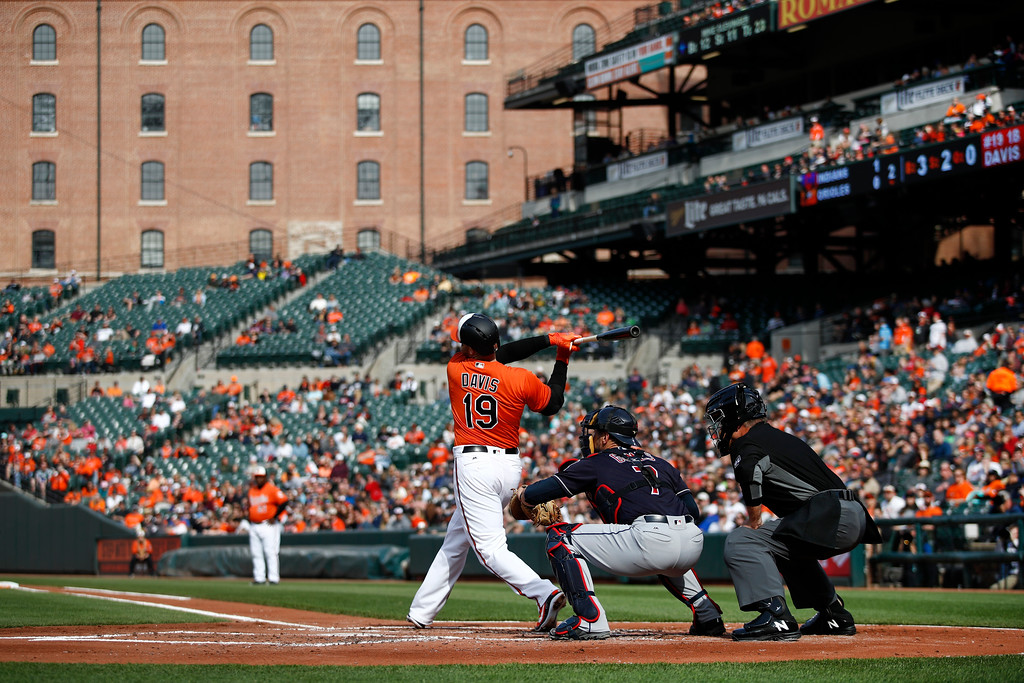 . Baltimore Orioles\' Chris Davis (19) swings in front of Cleveland Indians catcher Yan Gomes and home plate umpire Ed Hickox in in Baltimore. The teams meet again this weekend in Cleveland for a three-game series at Progressive Field. For more information, visit indians.com. (AP Photo/Patrick Semansky)