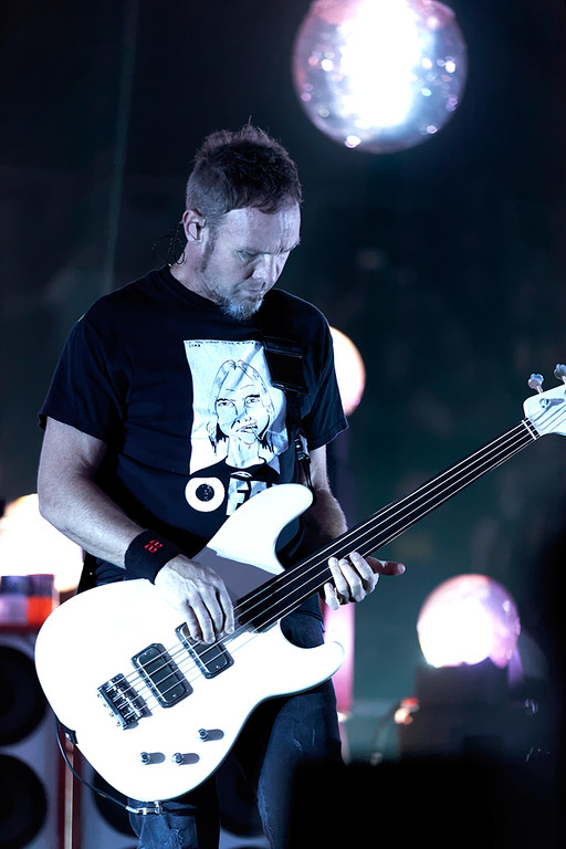 . Jeff Ament of Pearl Jam at Joe Louis Arena in Detroit Oct. 16, 2014. Photo by Ken Settle