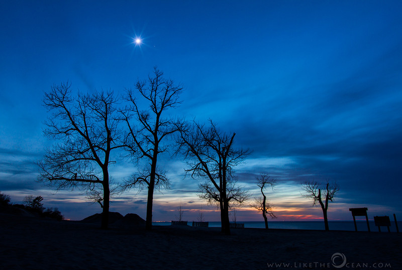 Sunset & Moon rise @ Indiana Dunes