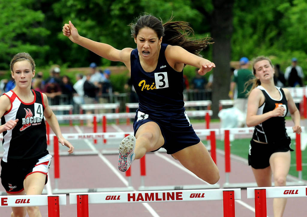 . Rosemount\'s Rachel Schow placed first with a time of 43.89 in the 300 meter hurdles. (Pioneer Press: Sherri LaRose-Chiglo)