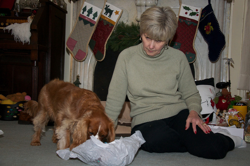 Ruby opening her present!