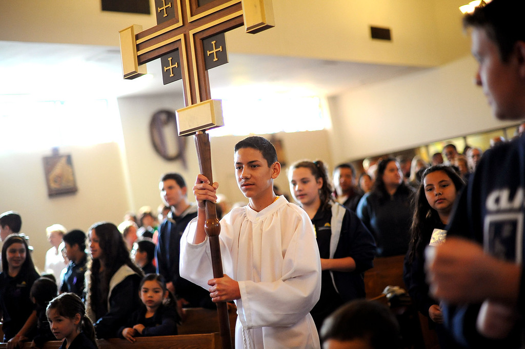 . Parishoners participate in an Ash Wednesday Mass at the Saint Euphrasia Catholic Church in Granada Hills, CA March 5, 2014.(Andy Holzman/Los Angeles Daily News)